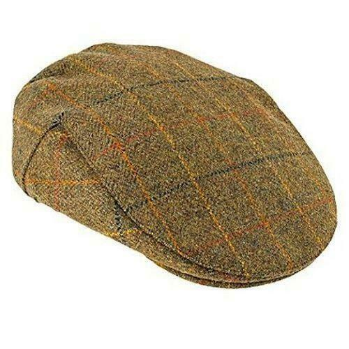 Stanbury British Tweed Traditional Teflon Coated Brown Checked Wool Flat Cap
