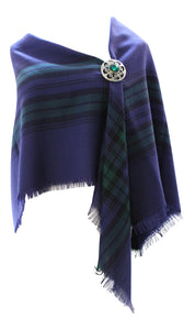 100% Pure Wool Authentic Traditional Scottish Tartan Border Shawl - Blackwatch