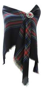100% Pure Wool Authentic Traditional Tartan Border Shawl - Stewart Blackened