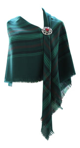 100% Pure Wool Authentic Traditional Scottish Tartan Border Shawl - Ross Hunting