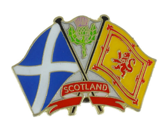 Lion Rampant with Scottish Thistle and Saltire Metal Pin Badge