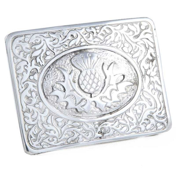 Polished Chrome Pewter Scottish Celtic Thistle with Leaves Kilt Belt Buckle