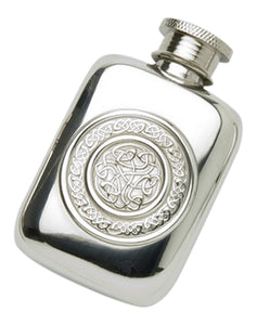Stylish Slimline 1.5oz Polished Pewter Handcast Pocket Hip Flask Featuring Celtic Interlace Design