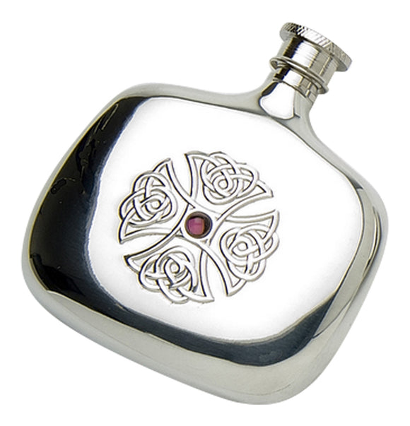 Stylish 4oz Polished Pewter Handcast Bottle Pocket Hip Flask Featuring Celtic Cross Set With Amethyst Stone