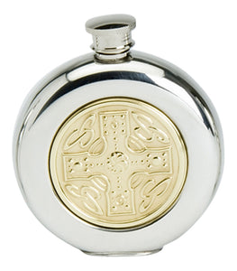 Stylish Slimline 6oz Round Polished Pewter Handcast Bottle Pocket Hip Flask Featuring Brass Celtic Cross Insert