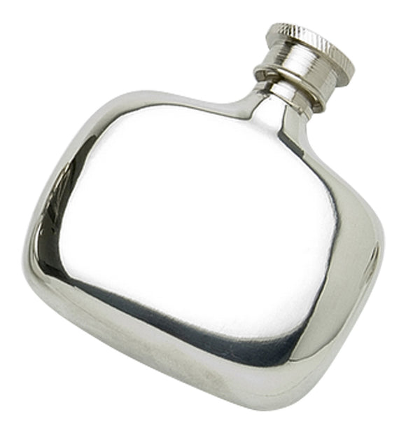 Stylish 2oz Polished Pewter Handcast Bottle Pocket Hip Flask