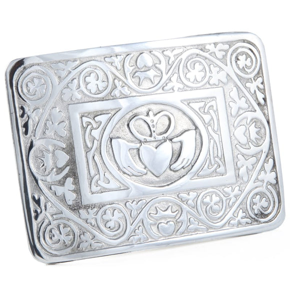 Pewter Irish Claddagh Celtic Interlace Kilt Belt Buckle Made In Scotland