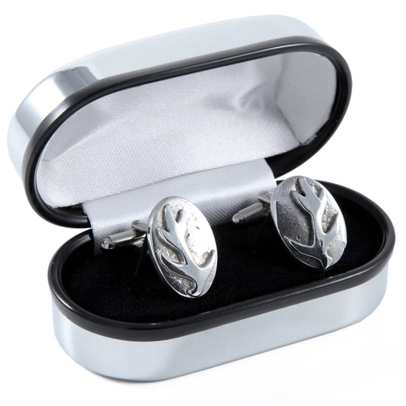Solid Pewter Scottish Stag Antler Cufflinks in Polished Chrome with T-Bar
