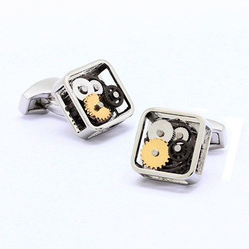 Onyx Art London Gears Watch Movement Square Rhodium Mens Cufflinks