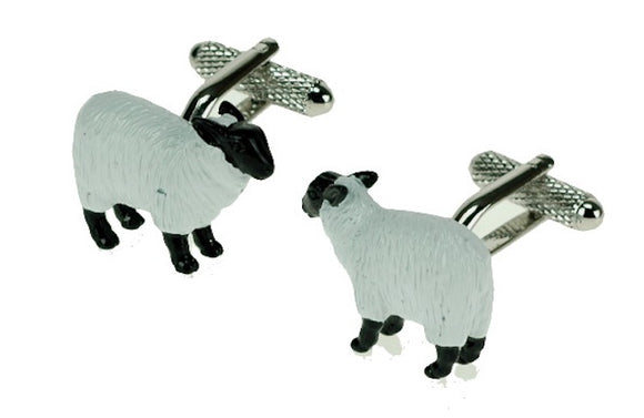 Onyx Art London Black & White Sheep Farmer Farming Mens Cufflinks
