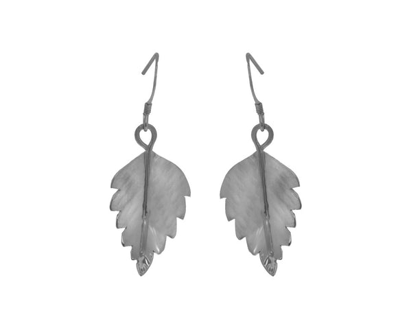 Claire Hawley Handcrafted Sterling Silver Silver Birch Tree Leaf Earrings