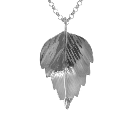 Claire Hawley Handcrafted Sterling Silver Silver Birch Tree Leaf Pendant & Chain