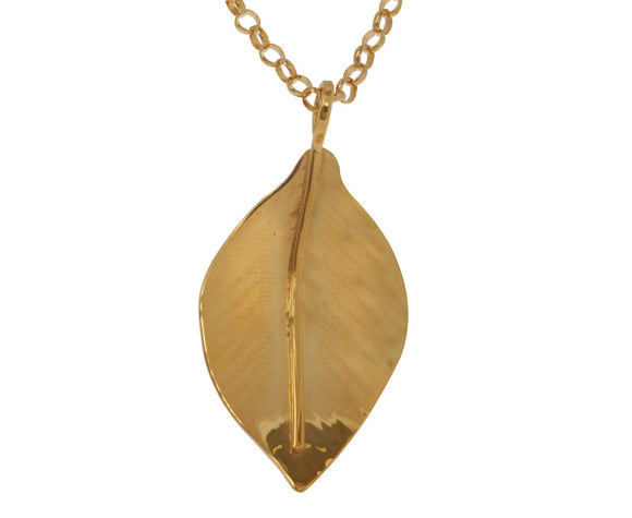 Claire Hawley Handcrafted Sterling Silver & Gold Vermeil Wild Apple Tree Leaf Pendant & Chain