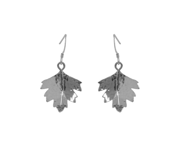 Claire Hawley Handcrafted Sterling Silver Silver Hawthorn Tree Leaf Earrings