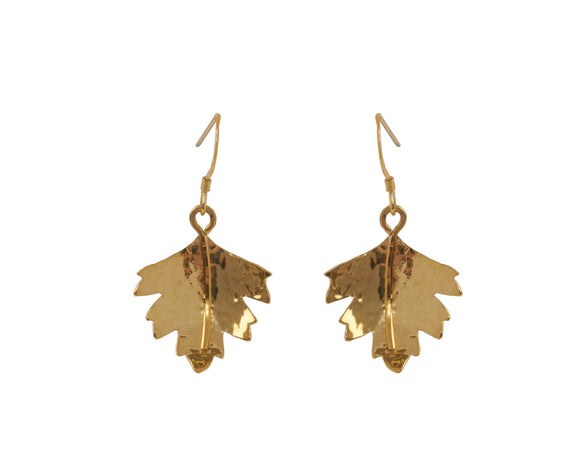 Claire Hawley Handcrafted Sterling Silver With Gold Vermeil Hawthorn Tree Leaf Earrings
