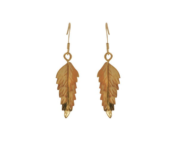 Claire Hawley Handcrafted Sterling Silver With Gold Vermeil Rowan Tree Leaf Earrings