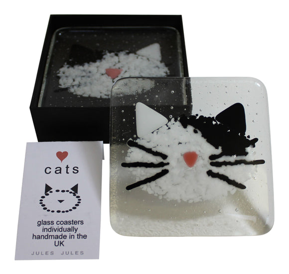 Pair of Handcrafted Glass Coasters Featuring A Black & White Cat Kitten Face