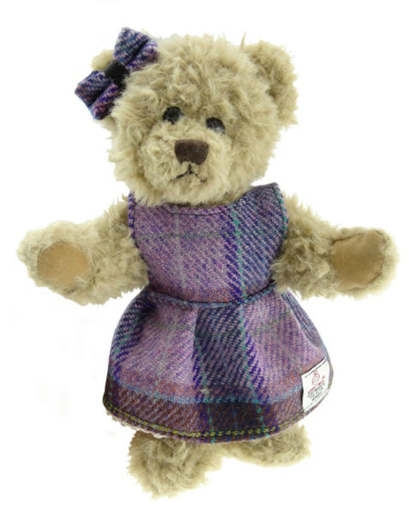 Traditional Scruffy Teddy Bear with 100% Authentic Harris Tweed Dress and Bow