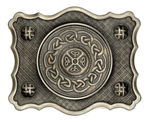 Stunning Art Pewter Kilt Buckle With Celtic Knot Scalloped Design in an Antique Finish