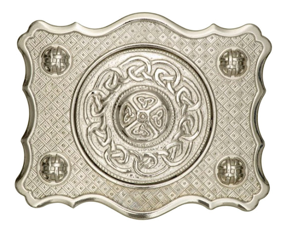 Stunning Art Pewter Kilt Buckle With Celtic Knot Scalloped Design in a Highly Polished Finish