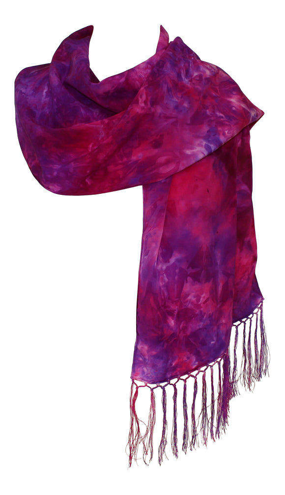 Ladycrow Stunning Fuchsia Crepe De Chine Scarf With Fringe In Pinks & Purple