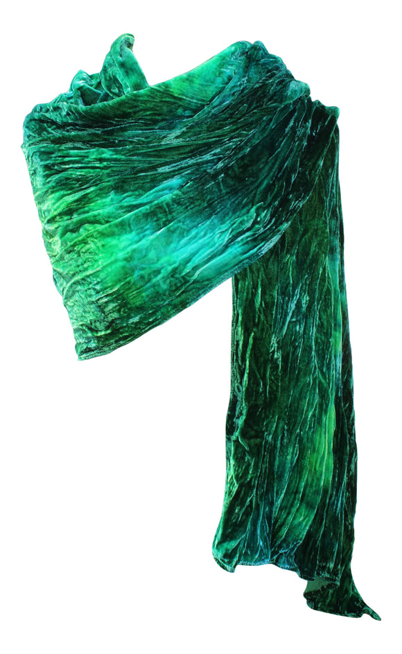 Ladycrow Stunning Single Silk Multi Dyed Velvet Wrap In Water Colours - Shades Of Green