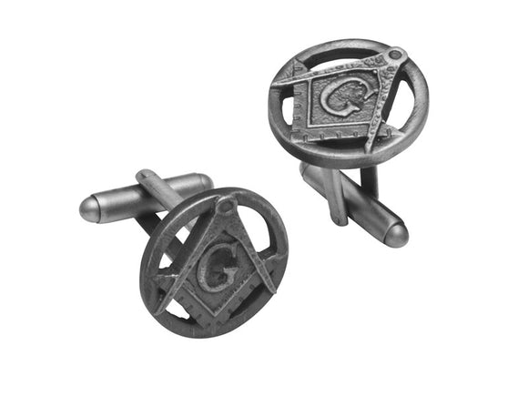 Stunning Masonic Pewter T-bar Cufflinks in Matte Palladium Finish