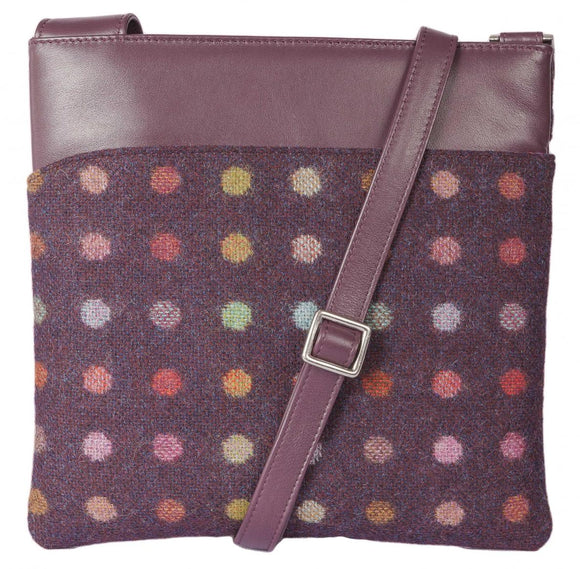 Mala Abertweed Collection British Leather Plum Spot Cross Body Bag Purse