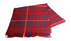Traditional Scottish Tartan 100% Wool Plain Full Fringed Sash - Rose Muted Red