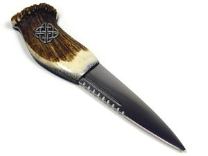 Traditional Staghorn Full Crown Scottish Dress Sgian Dubh Haggis Knife with Celtic Knot