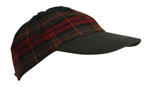 100% Pure New Wool Irish County Tartan Baseball Cap - County Cavan
