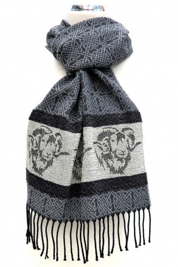 Calzeat of Scotland Celtic Alba Ram Sheep Blue Silver Grey Jacquard Wool Scarf