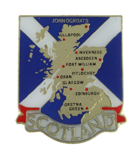 Scotland Map Metal Pin Badge Featuring Aberdeen Edinburgh Glasgow Inverness
