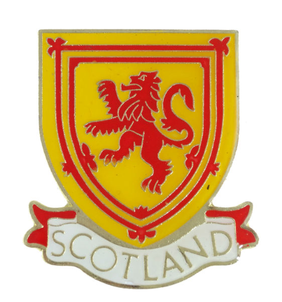 Scottish Lion Rampant Metal Pin Badge with a Scotland Banner