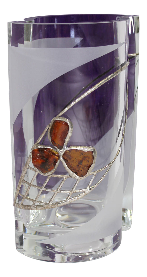 Art Gemelli Amber & Silver Decorated Dual Purpose Luxury Handmade Glass Vase & Candle Holder