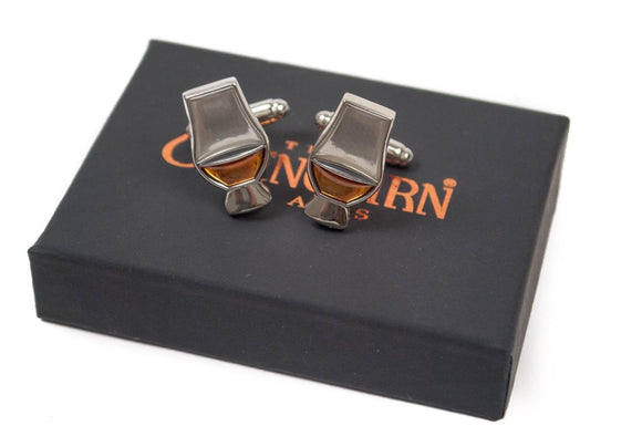 Official Glencairn Whisky Glass Enamelled T-Bar Cufflinks with Presentation Box