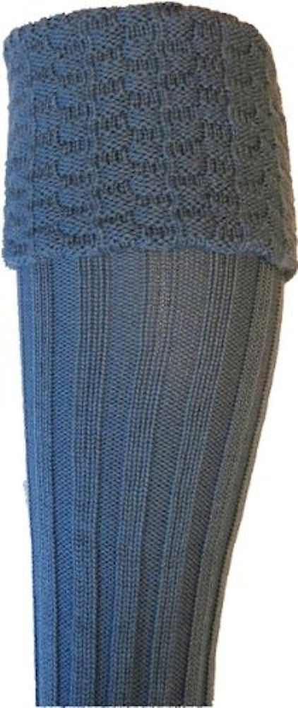 House of Cheviot Ancient Blue Bubble Top Piper Knit Merino Wool Kilt Hose Socks
