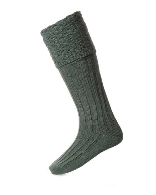 House of Cheviot Ancient Green Bubble Top Piper Knit Merino Wool Kilt Hose Socks