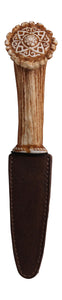 My Heart is in the Highlands Resin Stag Horn Dress Sgian Dubh Haggis Stag Knife with Celtic Pattern