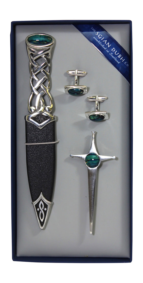 Scottish Heathergem 3 Piece Sgian Dubh Haggis Knife, Cufflinks and Kilt Pin Gift Set