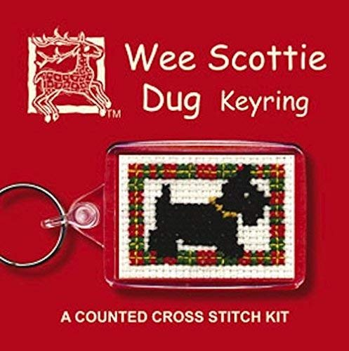 Wee Scottie Dug Dog Counted Cross Stitch Keyring Set