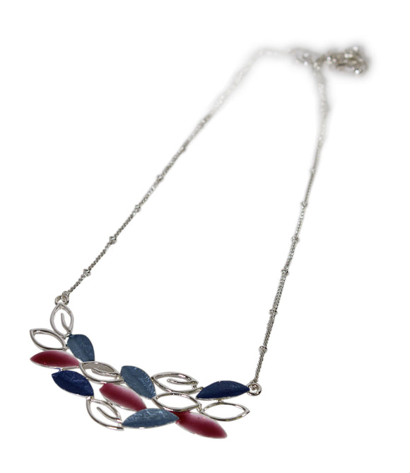Alexander Thurlow Blue & Pink Tone Finish Overlap Leaf Necklace Pendant