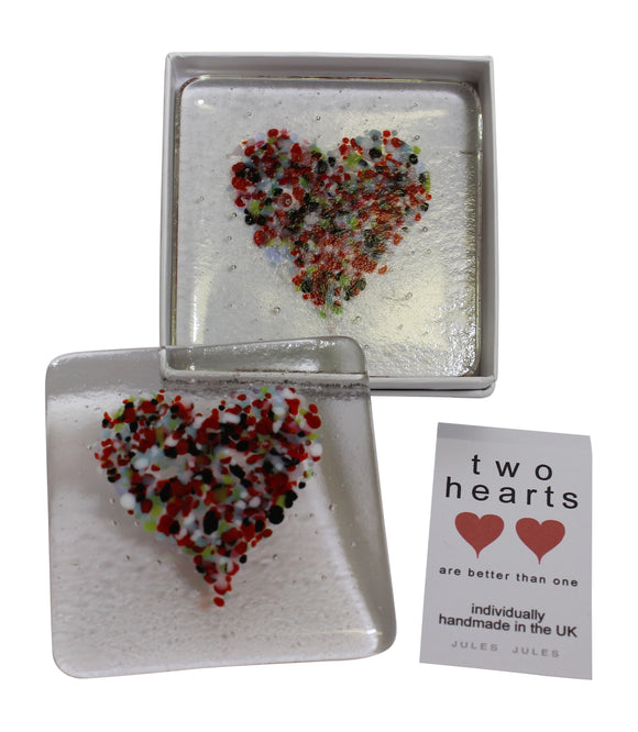 Pair of Handcrafted Glass Coasters Featuring a Multi Coloured Heart Love Valentine's Day