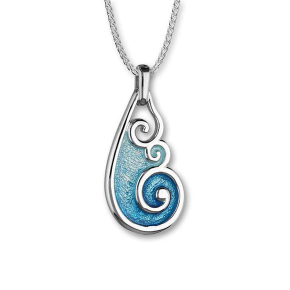Tranquillity Blue Green Enamel Wave Tear Drop  Pendant