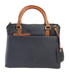 Rowallan Prelude Small Grip Shoulder Handbag Purse in Navy and Tan