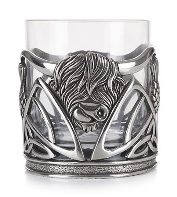 Pewter Scottish Highland Cow Coo & Scottish Thistle Whisky Tumbler Glass