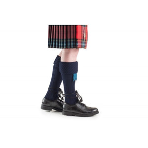 Navy Blue Quality Bubble Honeycomb Top Piper / Pipeband Hose Kilt Socks