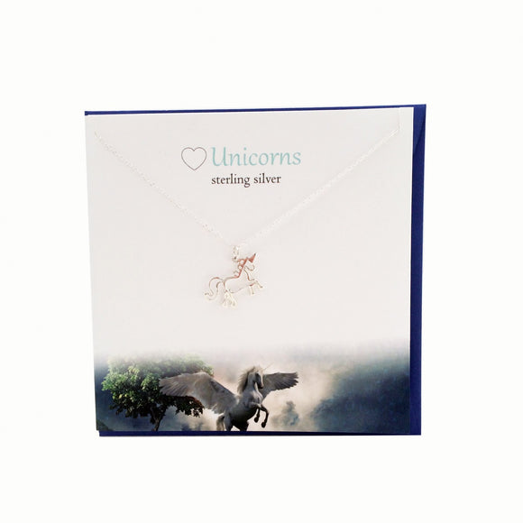 The Silver Studio Unicorn Necklace Pendant Card & Gift Set