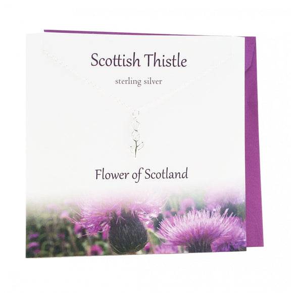 The Silver Studio Traditional Scottish Thistle Necklace Pendant Card & Gift Set