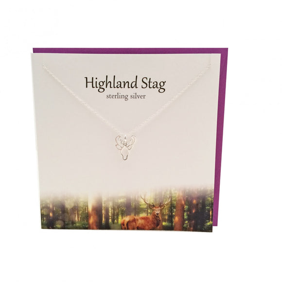 The Silver Studio Scottish Highland Stag Necklace Pendant Card & Gift Set